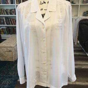 Yves St. Clair 2 |White Sheer Tailored Look Blouse